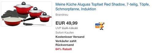 """M&K by ELO (Meine Küche) Aluguss Topfset """"Red Shadow"""", 7-teilig - jetzt 17% billiger"""