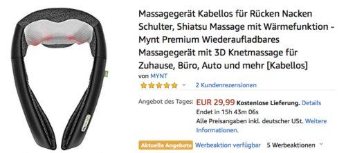 Mynt Kabelloses Shiatsu Massagegerät mit Wärmefunktion und 3D Knetmassage - jetzt 57% billiger
