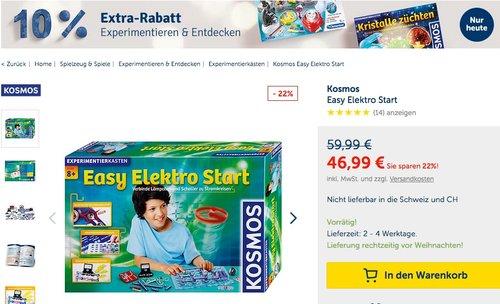 myToys.de 10% Extra-Rabat auf Experimentieren & Entdecken: z.B. Kosmos Easy Elektro Start Elektronik-Baukasten - jetzt 9% billiger