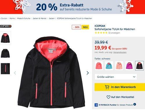 myToys.de 20% Extra-Rabatt auf bereits reduzierte Mode und Schuhe: z.B. ICEPEAK Softshelljacke TUUA für Mädchen - jetzt 17% billiger