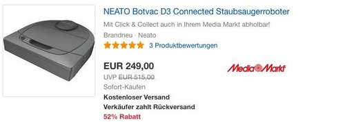 NEATO Botvac D3 Connected Staubsaugerroboter 945-0247 - jetzt 16% billiger