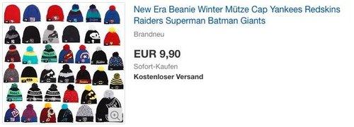 New Era Beanie Wintermütze, verschiedene Modelle (Yankees, Redskins, Superman u.v.m.) - jetzt 45% billiger