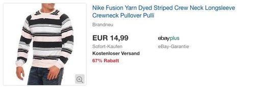 NIKE Fusion Yarn Dyed Striped Herren Pullover - jetzt 25% billiger