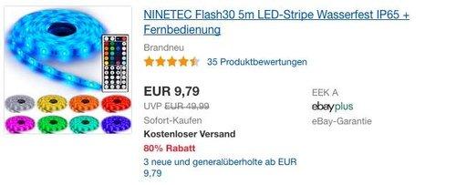NINETEC Flash30 5m LED-Strip mit Fernbedienung - jetzt 22% billiger