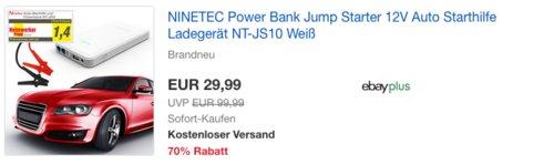 NINETEC Power Bank Jump Starter 12V Auto Starthilfe Ladegerät NT-JS10 - jetzt 50% billiger
