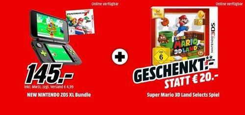 NINTENDO New Nintendo 2DS XL Schwarz/Apfelgrün inkl. Mario Kart 7 und - jetzt 12% billiger