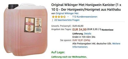 Original Wikinger Met Honigwein Kanister 10 Liter - jetzt 20% billiger