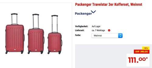 Packenger Travelstar 3er ABS Kofferset (M, L, XL) - jetzt 21% billiger