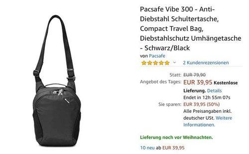 Pacsafe Vibe 300 - Anti-Diebstahl Schultertasche, 12 Liter - jetzt 43% billiger