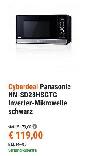 Panasonic NN-SD28HSGTG Inverter-Mikrowelle schwarz - jetzt 23% billiger
