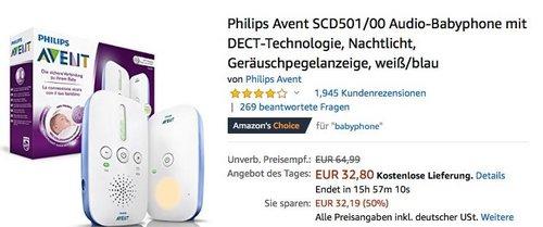 Philips Avent SCD501/00 Audio-Babyphone in Weiß/Blau - jetzt 25% billiger