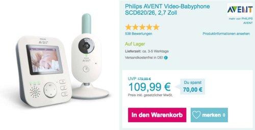 Philips AVENT Video-Babyphone SCD620/26 mit 2,7 Zoll Bildschirm und Nachtsicht - jetzt 8% billiger