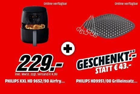PHILIPS HD 9652/90 Airfryer XXL Fritteuse inkl. PHILIPS HD9951/00 Grill-Kit - jetzt 16% billiger