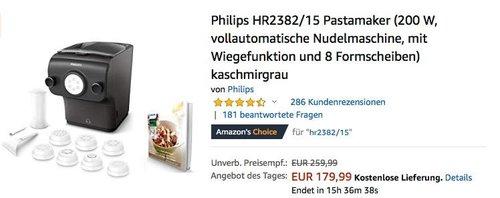 Philips HR2382/15 Pastamaker, vollautomatische Nudelmaschine - jetzt 24% billiger