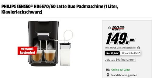 PHILIPS SENSEO® HD6570/60 Latte Duo Padmaschine - jetzt 11% billiger