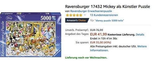 Ravensburger 17432 Mickey als Künstler Puzzle - jetzt 18% billiger