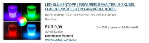 RGB-LED Blumentopf & Eiswürfelbehälter mit integrierter Auffangschale - jetzt 33% billiger