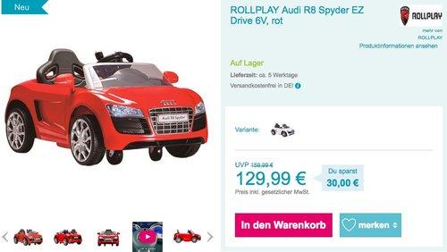 ROLLPLAY Audi R8 Spyder EZ Drive 6V Kinder Elektroauto - jetzt 4% billiger