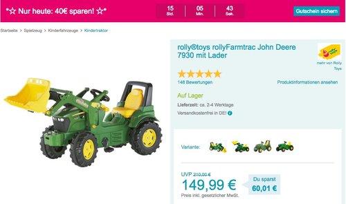 rolly®toys rollyFarmtrac John Deere 7930 Spielzeugtraktor mit Lader - jetzt 14% billiger