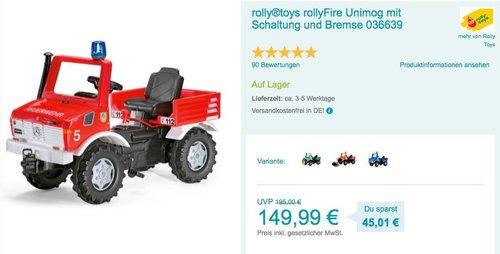 rolly®toys rollyFire Unimog Trettraktor mit Schaltung und Bremse (036639) - jetzt 10% billiger