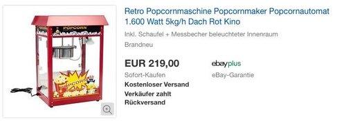 Royal Catering Popcornmaschine, Dach Rot, 1.600 Watt, 5kg/h - jetzt 7% billiger