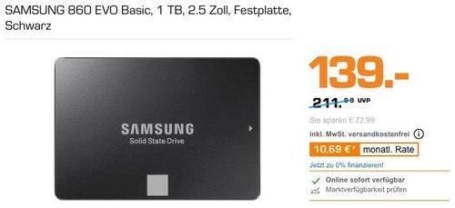 SAMSUNG 860 EVO Basic 1 TB  interne SSD-Festplatte (MZ-76E1T0B/EU) - jetzt 16% billiger