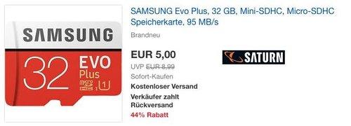 SAMSUNG Evo Plus 32 GB Micro-SDHC Speicherkarte - jetzt 44% billiger