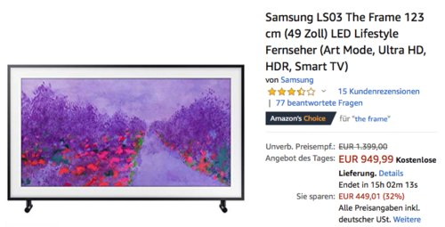 Samsung LS03 The Frame 123 cm (49 Zoll) LED Lifestyle Fernseher - jetzt 19% billiger