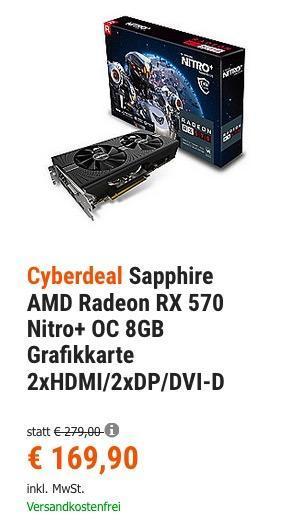 Sapphire AMD Radeon RX 570 Nitro+ OC 8GB Grafikkarte - jetzt 14% billiger