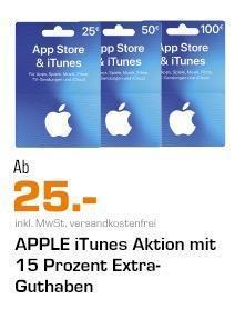 Saturn -15% Extra-Guthaben auf iTunes-Geschenkkarte 25€, 50€ oder 100€: z.B. 50€ iTunes-Geschenkkarte - jetzt 13% billiger