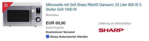 Sharp R644S Mikrowelle mit Grill, 23 Liter, Silbermetallic - jetzt 29% billiger