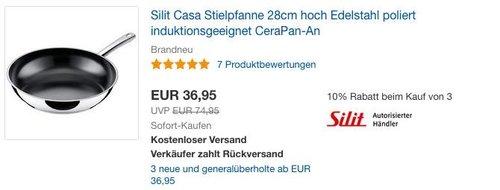 Silit Edelstahl Pfanne Ø 28 cm Casa, 6 cm hoch - jetzt 6% billiger