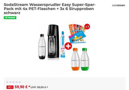 SodaStream Wassersprudler Easy Super-Spar-Pack mit 4x PET-Flaschen + 3x 6 Sirupproben - jetzt 14% billiger