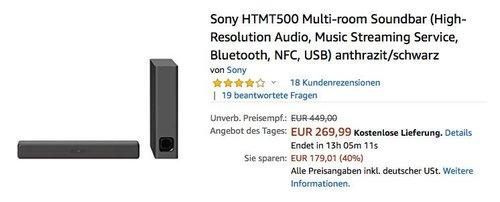Sony HTMT500 Multi-room 2.1-Kanal-Soundbar mit Wi-Fi®/Bluetooth® Technologie - jetzt 14% billiger