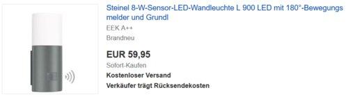 Steinel 8-W-LED Wandleuchte L 900 mit 180°-Bewegungsmelder und Grundlicht - jetzt 20% billiger