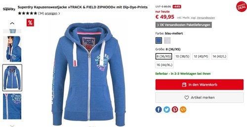 "Superdry Damen Kapuzensweatjacke ""TRACK & FIELD ZIPHOOD"" mit Dip-Dye-Prints - jetzt 23% billiger"