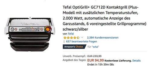 Tefal OptiGrill+ GC712D Kontaktgrill, 2.000 Watt, 6 voreingestellte Grillprogramme - jetzt 20% billiger