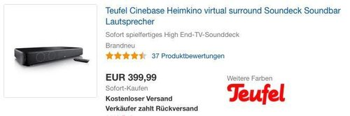 Teufel Cinebase Heimkino, Virtual Surround Soundeck-Soundbar - jetzt 11% billiger