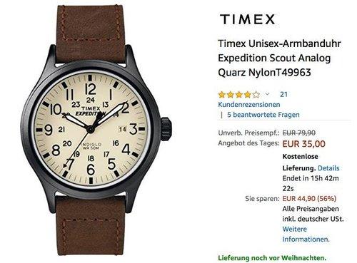 Timex Unisex-Armbanduhr Expedition Scout T49963 - jetzt 22% billiger