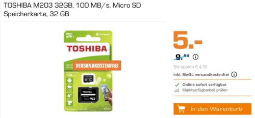 TOSHIBA M203 Micro SD Speicherkarte 32GB inkl. Adapter - jetzt 37% billiger