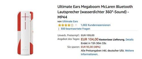 Ultimate Ears Megaboom McLaren Bluetooth Lautsprecher Rot/Weiß - jetzt 25% billiger