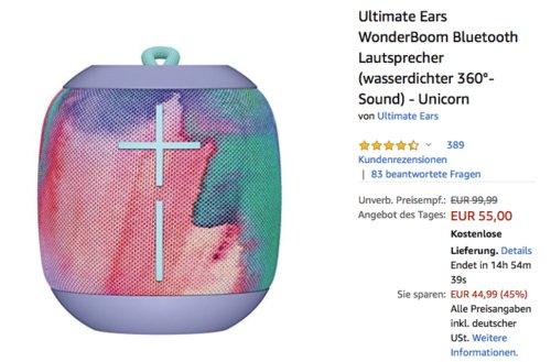 Ultimate Ears WonderBoom Bluetooth Lautsprecher in versch. Farben - jetzt 8% billiger