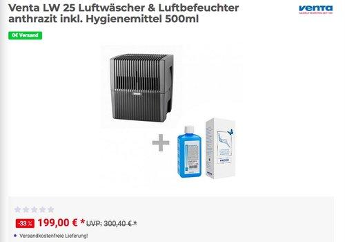 Venta LW 25 Luftwäscher & Luftbefeuchter anthrazit inkl. Hygienemittel 500ml - jetzt 9% billiger
