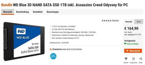 WD Blue 3D NAND SATA SSD 1TB Festplatte inkl. Code für Assassins Creed Odyssey PC - jetzt 7% billiger