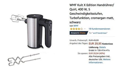 WMF Kult X Edition Handrührer/ Quirl 400 W - jetzt 20% billiger