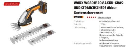 WORX WG801E 20V AKKU-GRAS- UND STRAUCHSCHERE Akku-Gartenscherenset - jetzt 14% billiger
