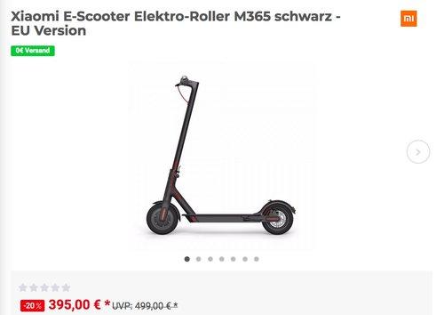 Xiaomi E-Scooter Elektro-Roller M365 in Schwarz - EU Version - jetzt 19% billiger