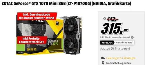 ZOTAC GeForce® GTX 1070 Mini 8GB (ZT-P10700G) Grafikkarte inkl. Downloadcode für MonsterHunter: World und Fortnite Counterattack Set - jetzt 25% billiger