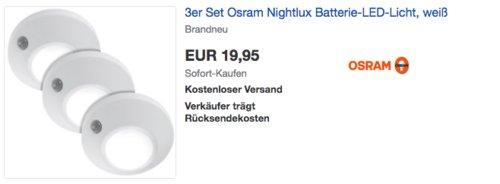 3er Set Osram Nightlux Batterie-LED-Licht mit Bewegungsmelder - jetzt 35% billiger