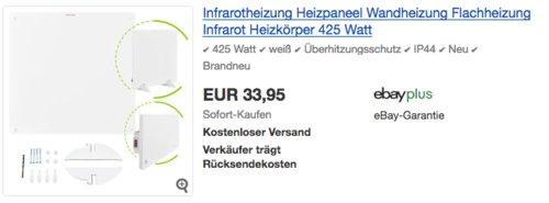 425 WattJuskys Infrarotheizung Heizpaneel - jetzt 28% billiger